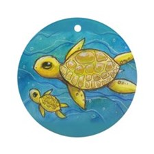 Sea turtle mama Ornament (Round)