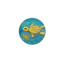 Sea turtle mama Mini Button