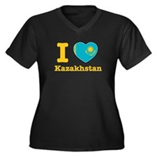 I love Kazakhstan Women's Plus Size V-Neck Dark T-
