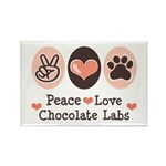 Peace Love Chocolate Lab Rectangle Magnet (10 pack