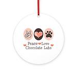 Peace Love Chocolate Lab Ornament (Round)