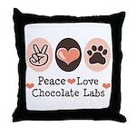 Peace Love Chocolate Lab Throw Pillow