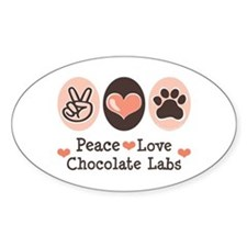 Peace Love Chocolate Lab Oval Decal