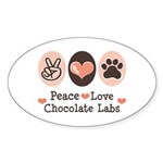 Peace Love Chocolate Lab Oval Sticker