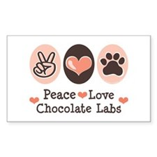 Peace Love Chocolate Lab Rectangle Decal