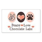 Peace Love Chocolate Lab Rectangle Sticker