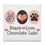 Peace Love Chocolate Lab Tile Coaster