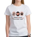Peace Love Chocolate Lab Women's T-Shirt