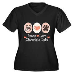 Peace Love Chocolate Lab Women's Plus Size V-Neck