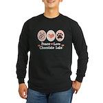 Peace Love Chocolate Lab Long Sleeve Dark T-Shirt