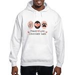 Peace Love Chocolate Lab Hooded Sweatshirt