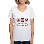 Peace Love Chocolate Lab Women's V-Neck T-Shirt