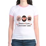 Peace Love Chocolate Lab Jr. Ringer T-Shirt