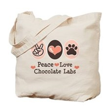 Peace Love Chocolate Lab Tote Bag