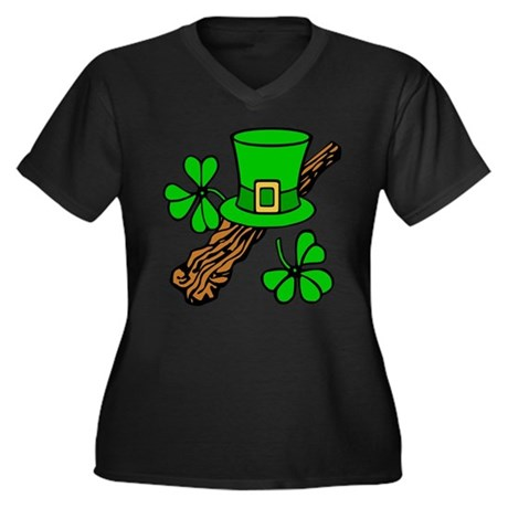 Irish Shillelagh Women's Plus Size V-Neck Dark T-S