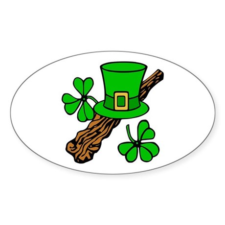 Irish Shillelagh Oval Sticker