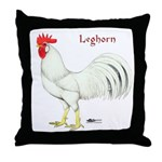 Leghorn White Rooster Throw Pillow
