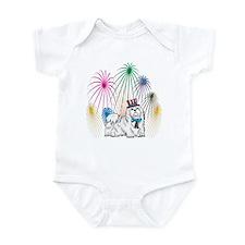 4th Of July Fireworks Maltese Infant Bodysuit