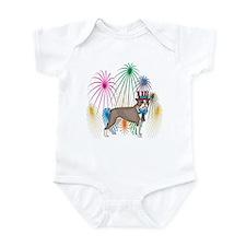 4th Of July Fireworks Boston Terrier Infant Bodysu