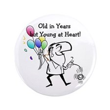"Young at Heart Birthday 3.5"" Button (100 pack)"