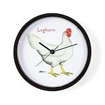 Leghorn White Hen Wall Clock