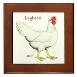 Leghorn White Hen Framed Tile