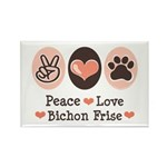 Peace Love Bichon Frise Rectangle Magnet (10 pack)