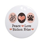 Peace Love Bichon Frise Ornament (Round)