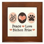 Peace Love Bichon Frise Framed Tile