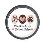 Peace Love Bichon Frise Wall Clock