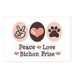 Peace Love Bichon Frise Postcards (Package of 8)