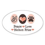 Peace Love Bichon Frise Oval Sticker
