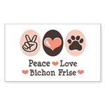 Peace Love Bichon Frise Rectangle Sticker