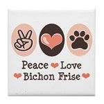 Peace Love Bichon Frise Tile Coaster