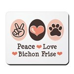 Peace Love Bichon Frise Mousepad