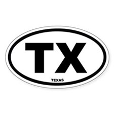TX Texas Euro Oval Decal
