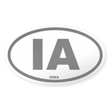 IA Iowa Euro Oval Decal