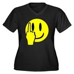 Smilie Face Finger Women's Plus Size V-Neck Dark T