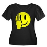 Smilie Face Finger Women's Plus Size Scoop Neck Da