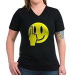 Smilie Face Finger Women's V-Neck Dark T-Shirt