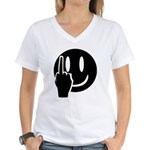 Smilie Face Finger Women's V-Neck T-Shirt