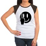 Smilie Face Finger Women's Cap Sleeve T-Shirt