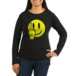 Smilie Face Finger Women's Long Sleeve Dark T-Shir