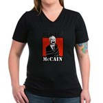 DETAIN MCCAIN Women's V-Neck Dark T-Shirt