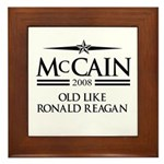 McCain 2008: Old like Ronald Reagan Framed Tile
