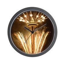 Space Needle Seattle Fireworks Wall Clock