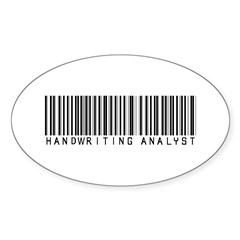 Handwriting Analyst Barcode Oval Sticker