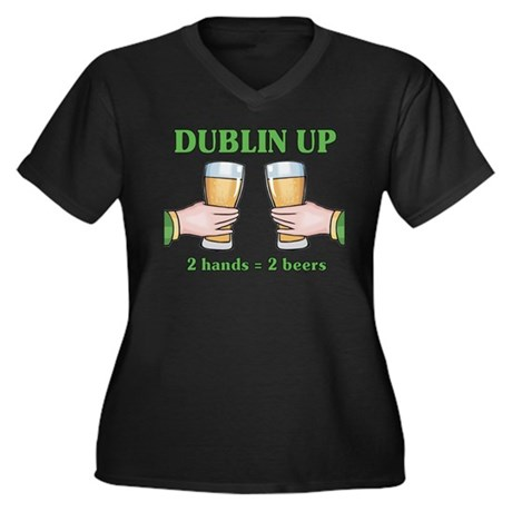 Dublin Up Women's Plus Size V-Neck Dark T-Shirt