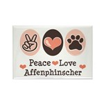 Peace Love Affenpinscher Rectangle Magnet (100 pac