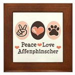 Peace Love Affenpinscher Framed Tile